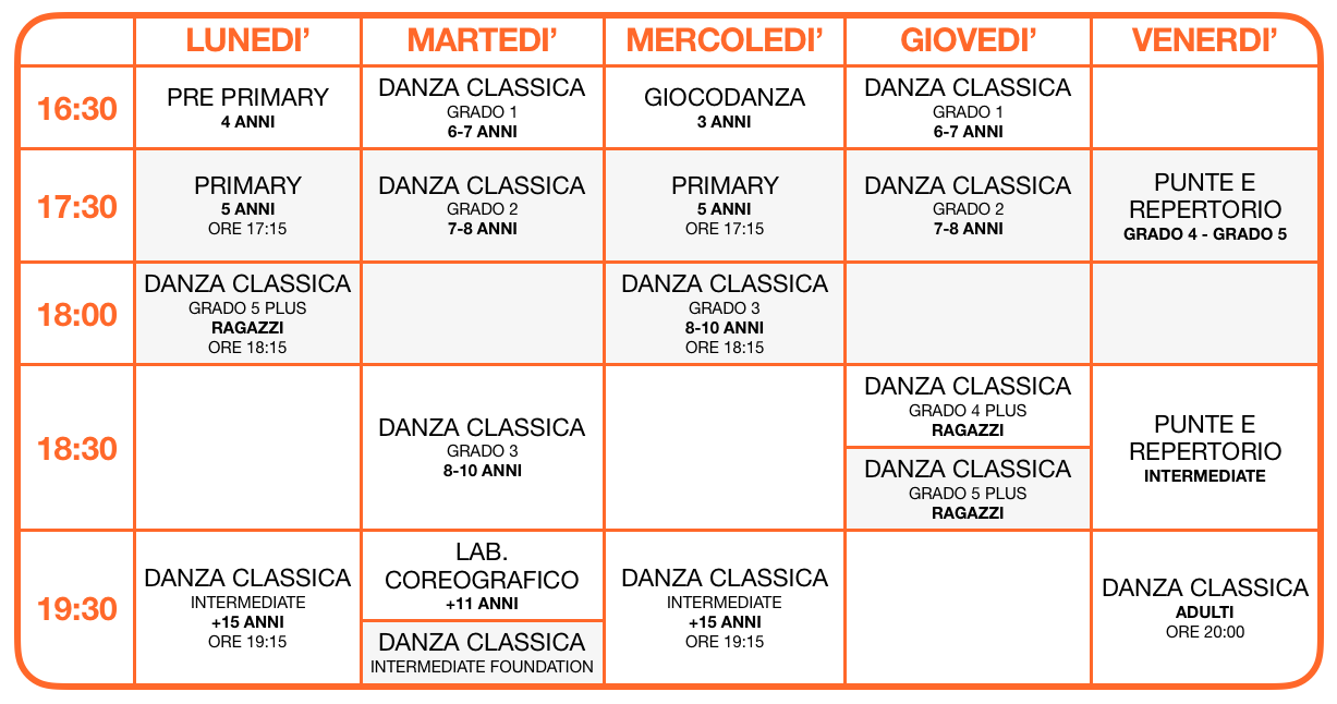 Calendario Danza Classica Colognola ai Colli 2019-2020 - School of Art