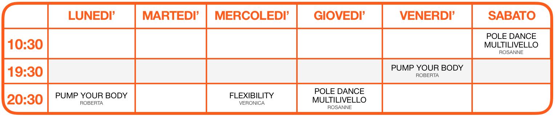 Calendario online attività Vertical - Pole Dance, Exotic, Cerchio Aereo e Tessuti Aerei 2020-2021 - Colognola, Soave, San Bonifacio, Verona - School of Art®