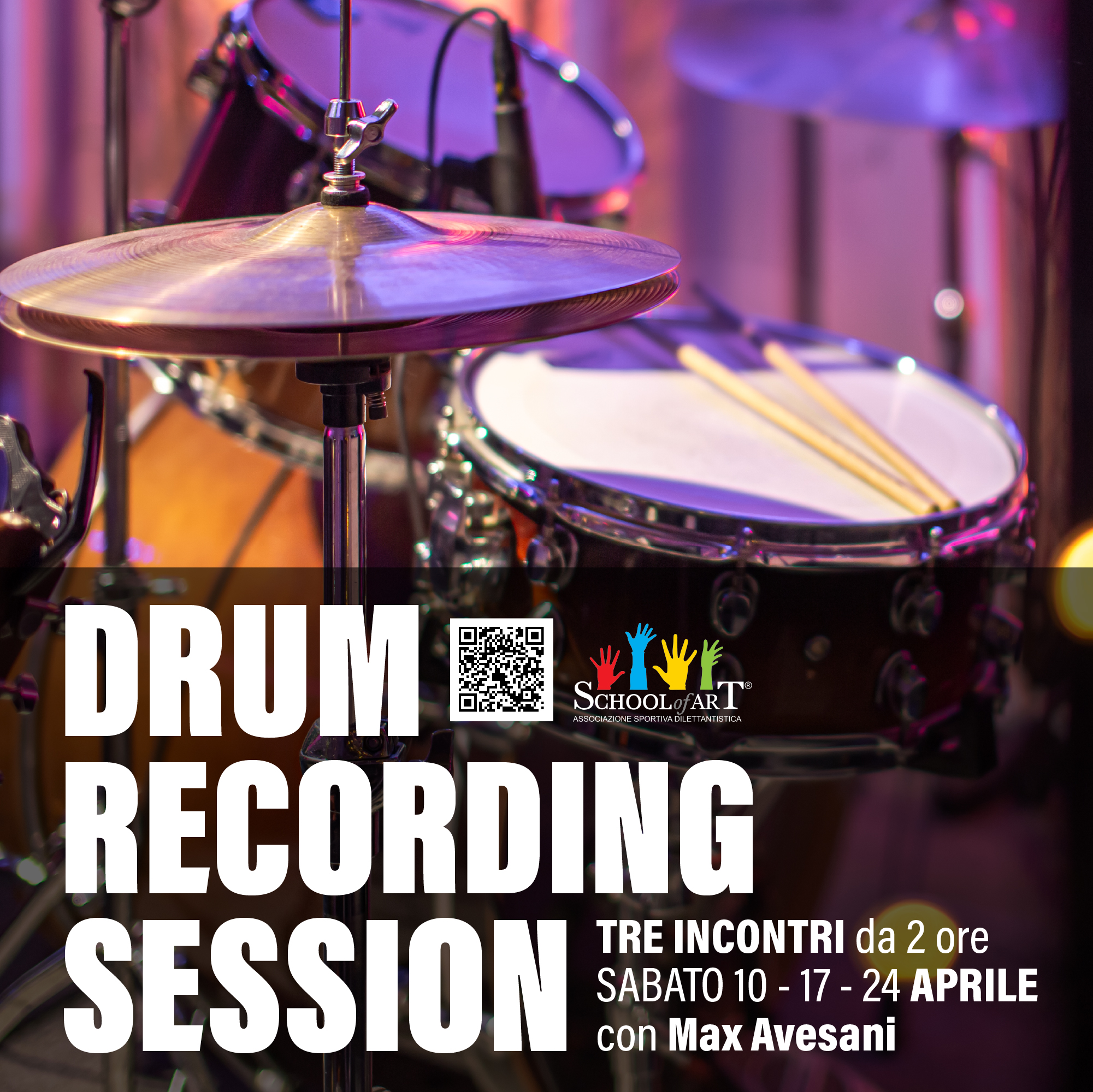 Drum Recording Session, con Max Avesani, è il laboratorio per imparare a registrare la propria batteria e migliorare le proprie performance in studio di registrazione - School of Art®