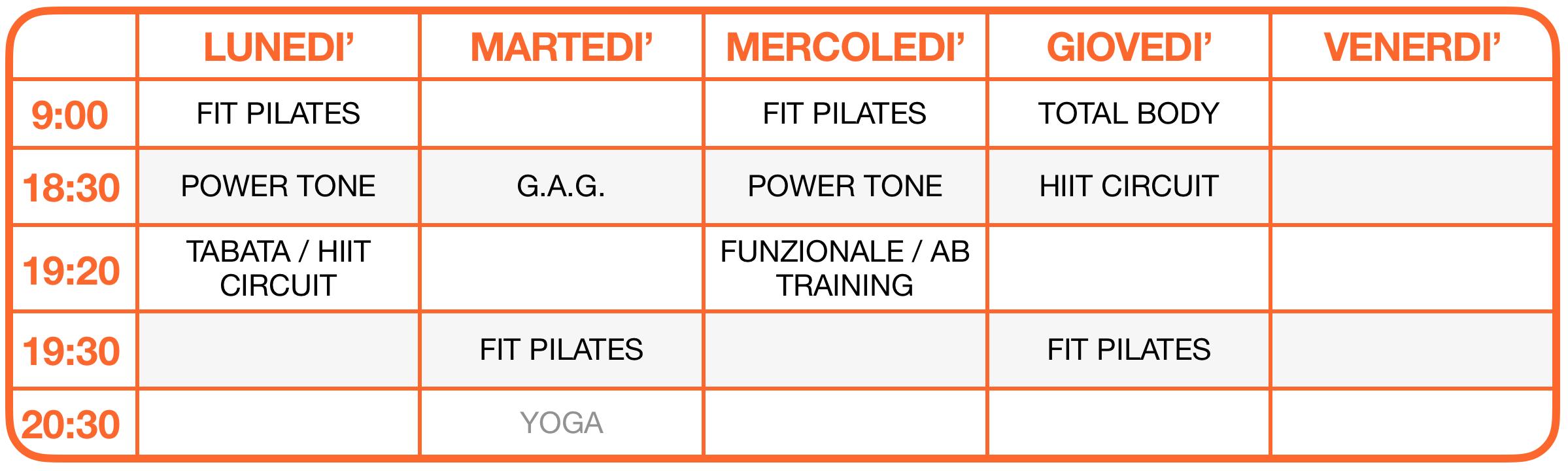 Calendario delle attività di Fitness ONLINE su ZOOM - School of Art® Verona