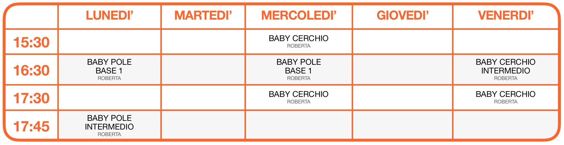 Calendario attività Baby Vertical - Baby Pole Dance e Baby Cerchio Aereo 2021-2022 - Colognola, Soave, San Bonifacio, Verona - School of Art®