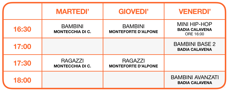 Calendario Hip-Hop sedi esterne 2021-2022 a Montecchia di Crosara, Monteforte d'Alpone e Badia Calavena - School of Art®