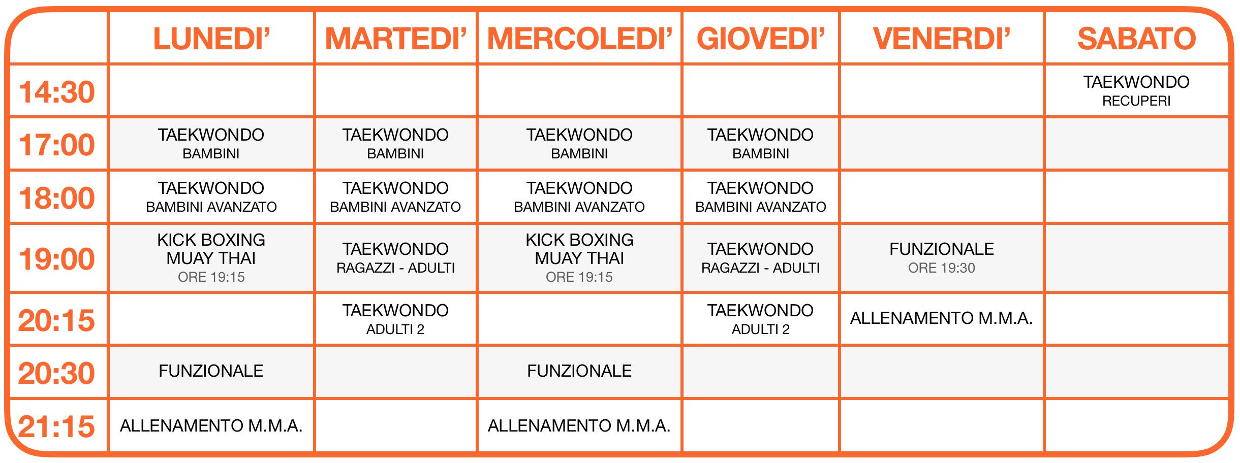 Calendario attività 2021-2022 Arti Marziali a Tatami - Vago di Lavagno - School of Art®